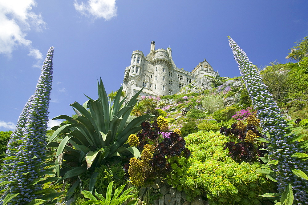 The gardens and the castle on St. Michaels Mount, Marazion, Cornwall, England, United Kingdom, Europe