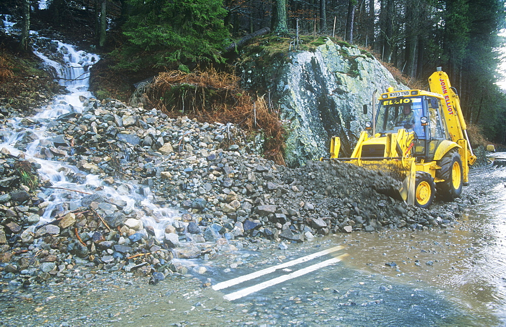 The A591 road blocked at Thirlmere by a landslide caused by extreme weather, Lake District, Cumbria, England, United Kingdom, Europe