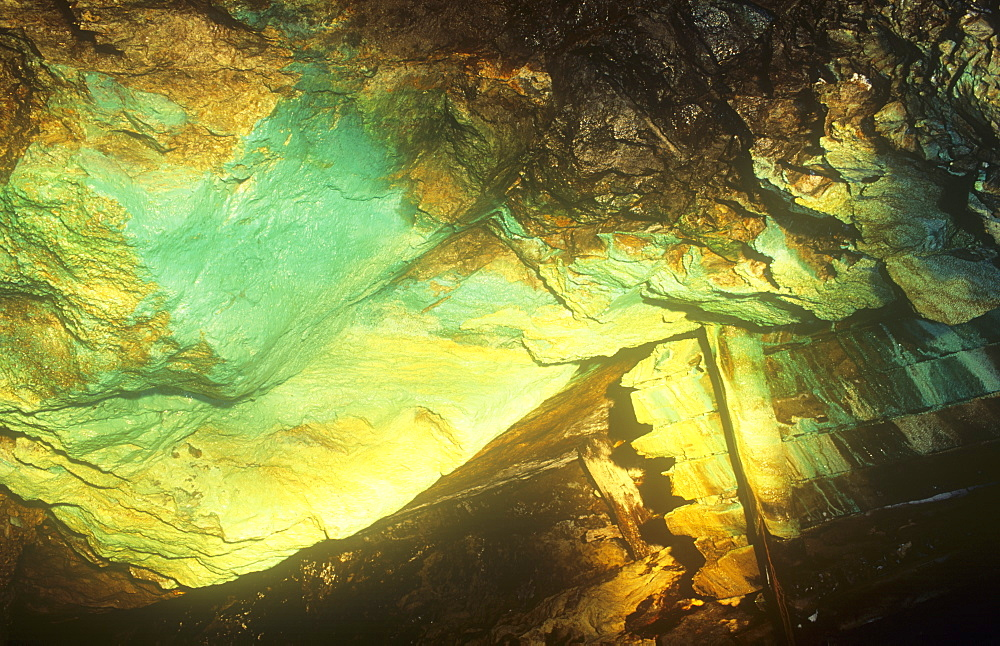 Copper staining in Coniston Copper mines, long since abandoned in the Lake District,, United Kingdom