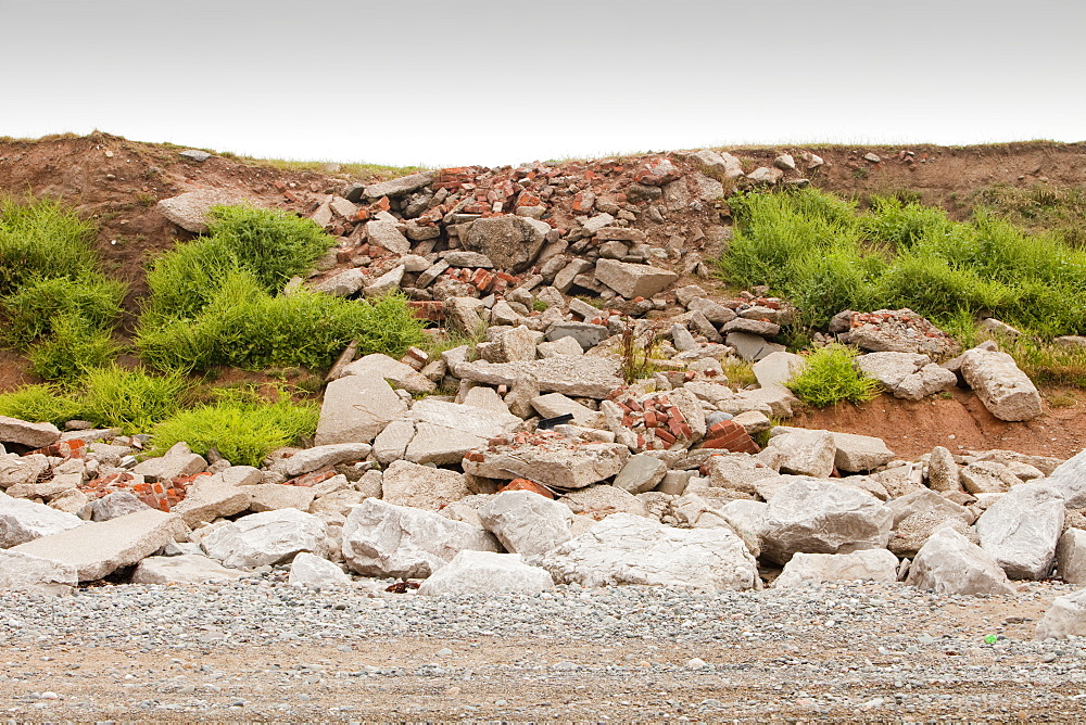 Large rocks placed on the shore of the west coast of Walney Island, to prevent coastal erosion, Cumbria, England, United Kingdom, Europe
