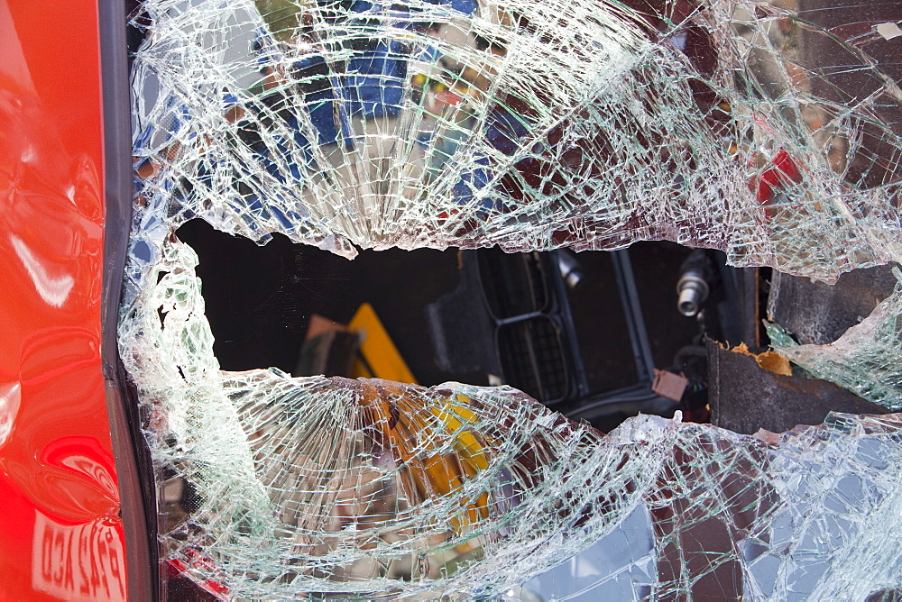 A crashed car with a smashed windscreen, United Kingdom, Europe