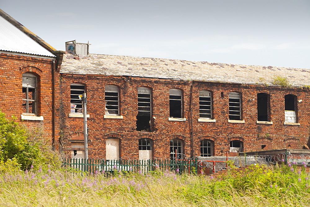 Derelict industrial buildings in Barrow in Furness, Cumbria, England, United Kingdom, Europe