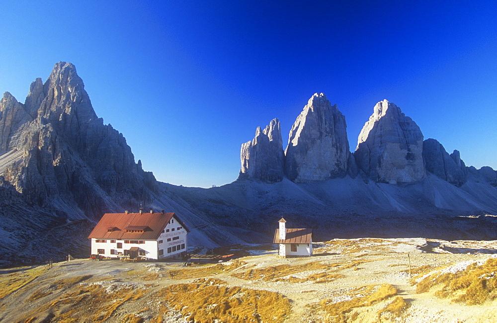The Locateli hut below the Tre Cime de Laverado in the Italian Dolomites, Italy, Europe
