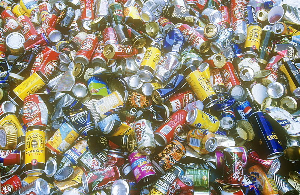 Aluminium cans at a recycling plant, United Kingdom, Europe