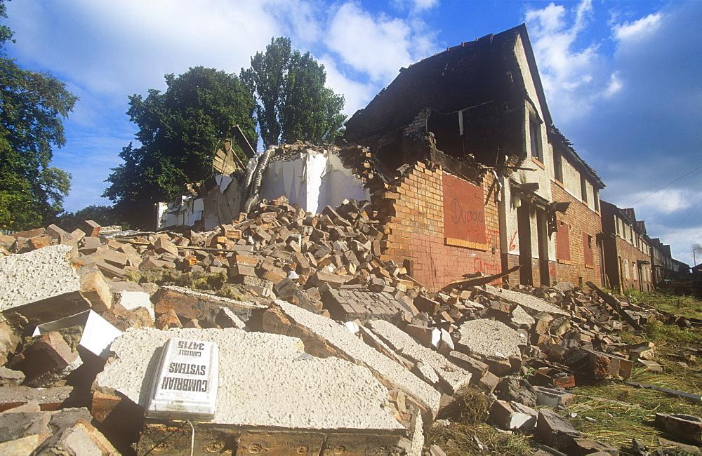Demolishing old council houses on the Raffles Estate in Carlisle, Cumbria, England, United Kingdom, Europe