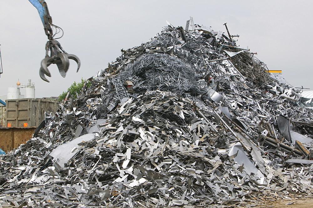 Scrap metal at a recycling plant in Blackburn, Lancashire, England, United Kingdom, Europe
