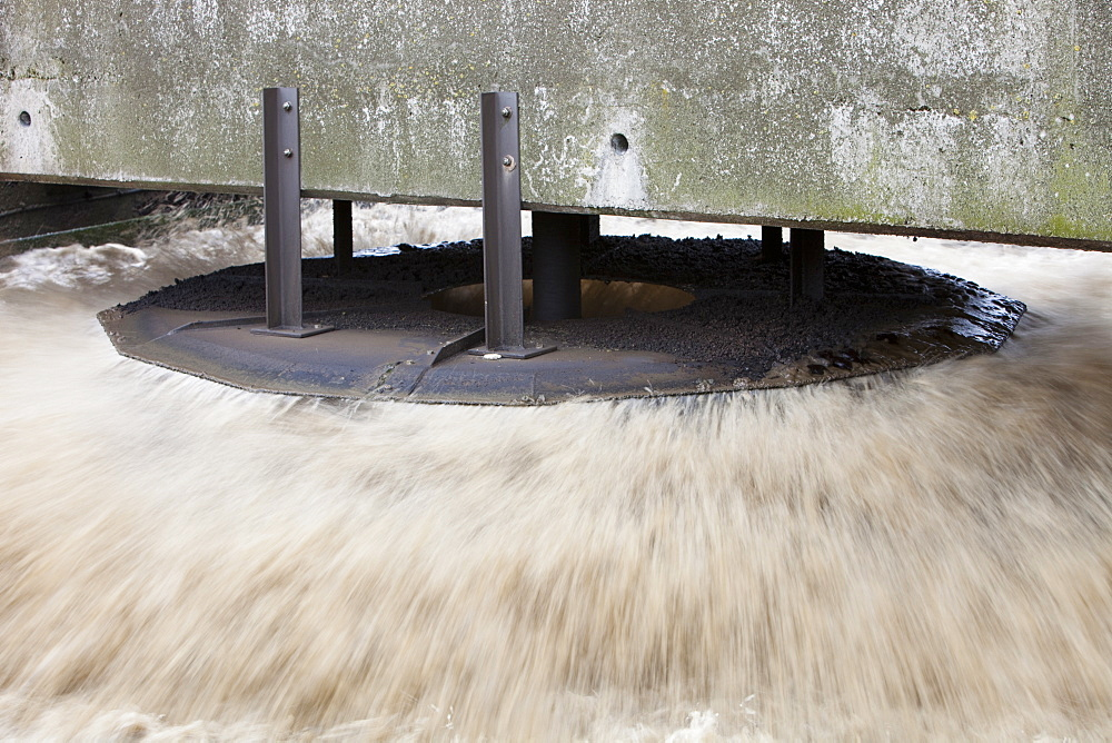 Pumps oxygenate the sewage water at Daveyhulme waste water treatment works in Manchester, England, United Kingdom, Europe