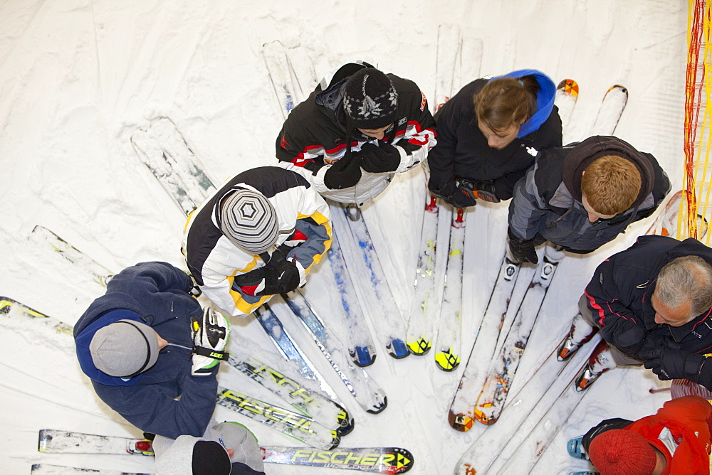 Skiers at the Chill Factor, an indoor skiing area in Manchester, England, United Kingdom, Europe