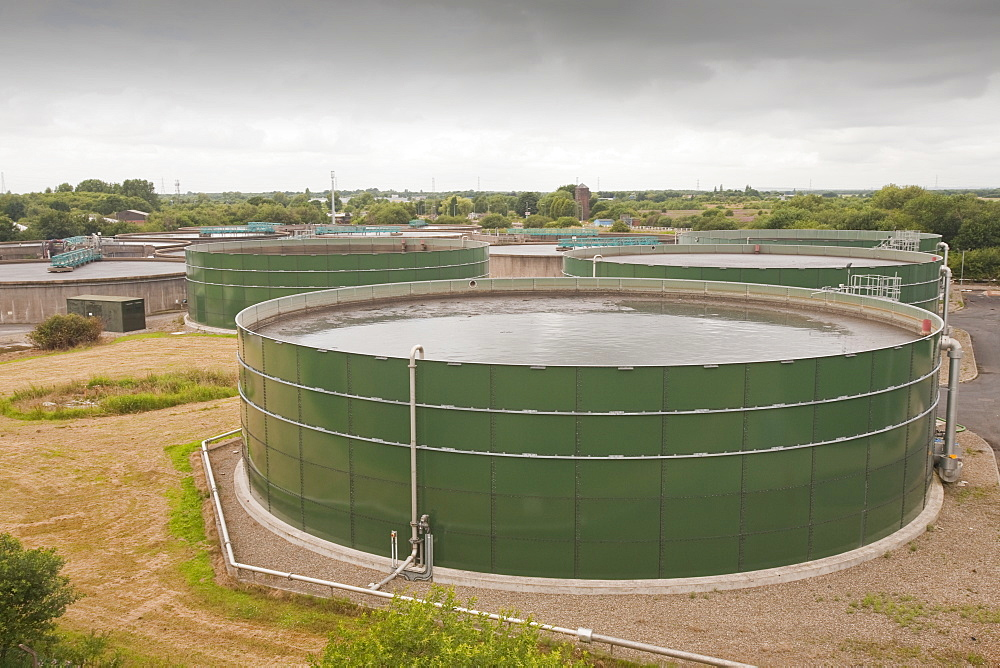 Waste water tanks at United Utilities' Daveyhulme plant which processes all of Manchester's sewage, Manchester, England, United Kingdom, Europe