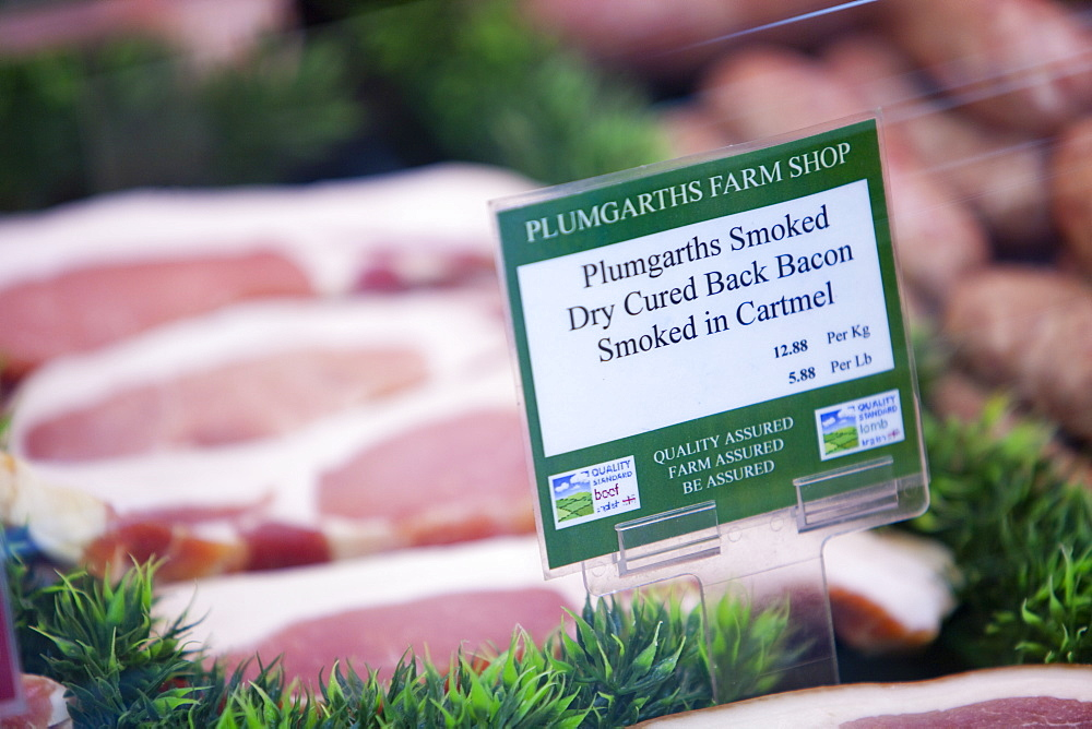 Locally produced and smoked bacon at Plumgarths farm shop in Kendal, Cumbria, England, United Kingdom, Europe