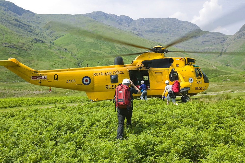 Langdale Ambleside mountain Rescue Team with a Sea King Helicopter in Langdale, Lake District, Cumbria, England, United Kingdom, Europe