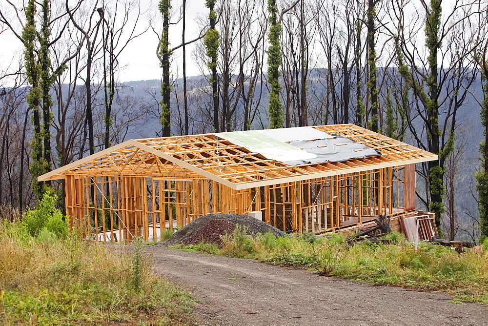 Rebuilding houses at Kinglake, one of the worst affected communities of the catastrophic 2009 Australian Bush Fires in the state of Victoria, Australia, Pacific