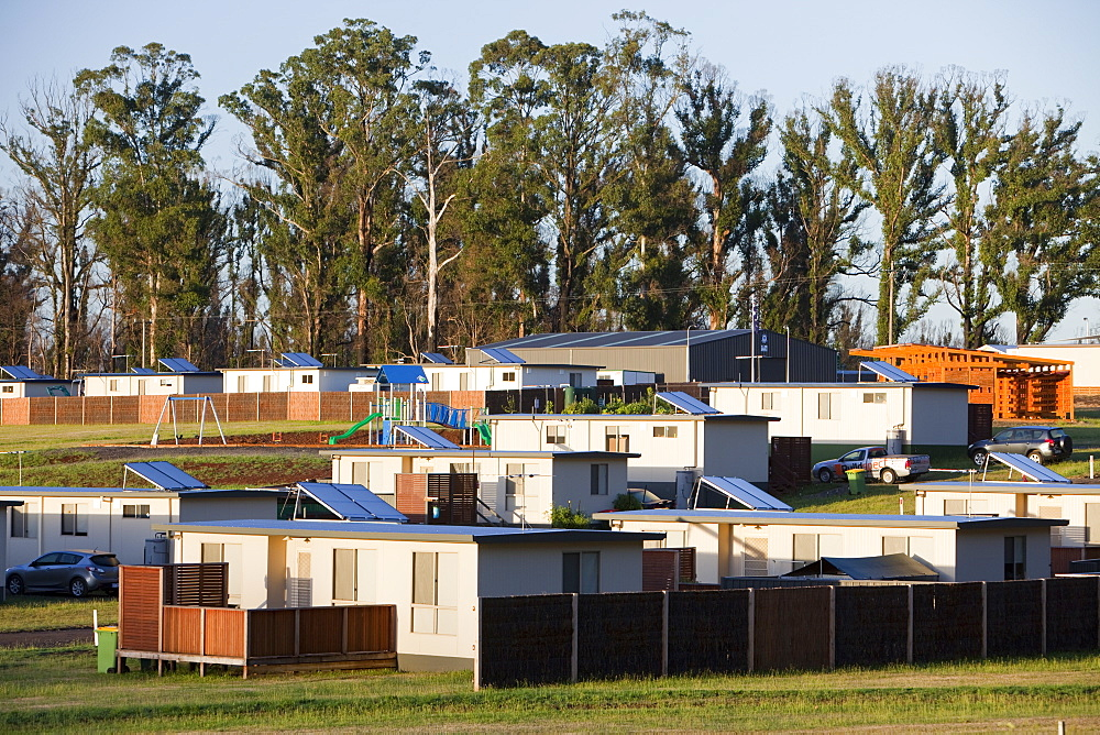 One year on from the catastrophinc 2009 Bush Fires survivors are still living in emergency housing at Kinglake, one of the worst affected communities, Victoria, Australia, Pacific
