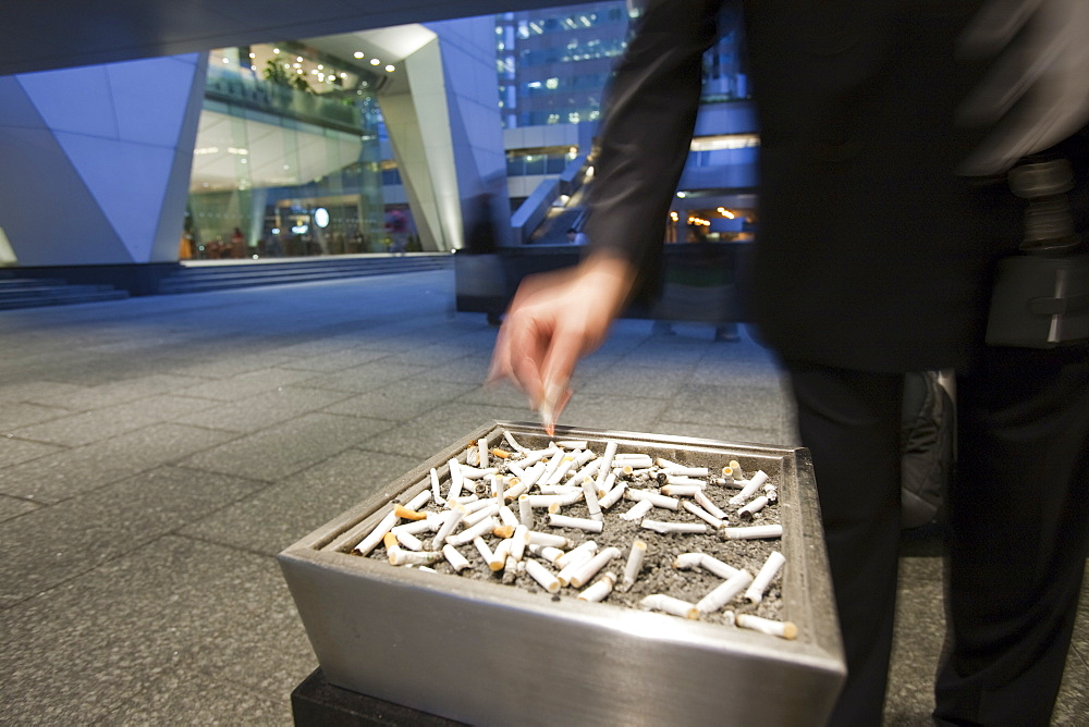 An ash tray outside an office block in Hong Kong, China, Asia