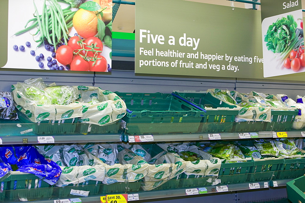 Vegetables in a Tesco supermarket, Cumbria, England, United Kingdom, Europe