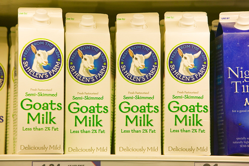 Goats milk for sale on supermarket shelves, Cumbria, England, United Kingdom, Europe