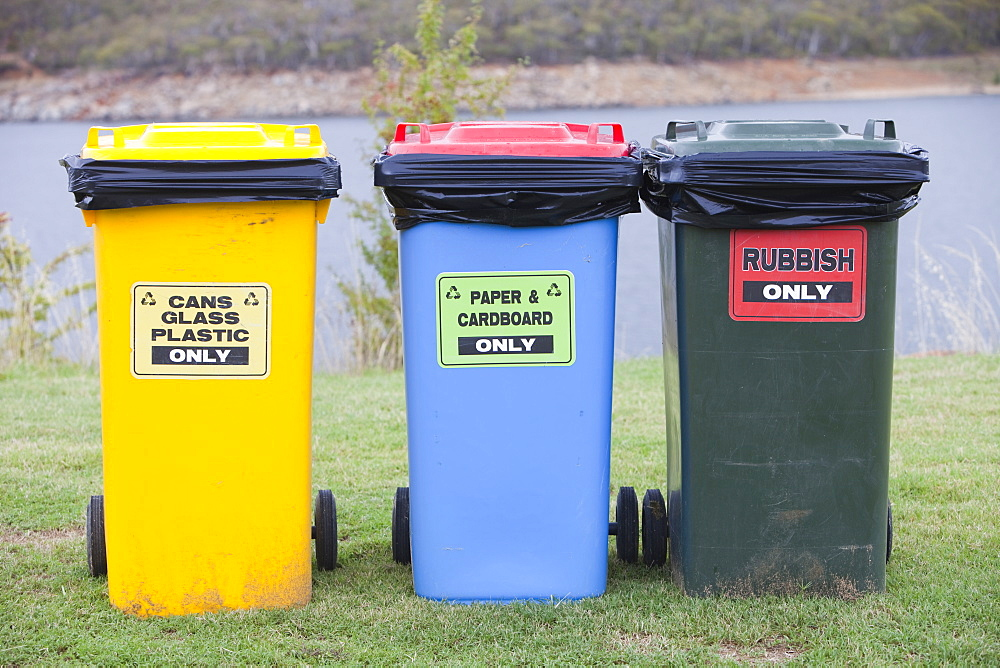 Recycling bins in Jindabyne, Snowy Mountains, New South Wales, Australia, Pacific