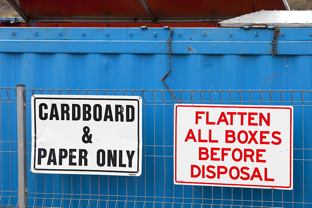 Cardboard recycling at Jindabyne rubbish dump in the Snowy Mountains, New South Wales, Australia, Pacific