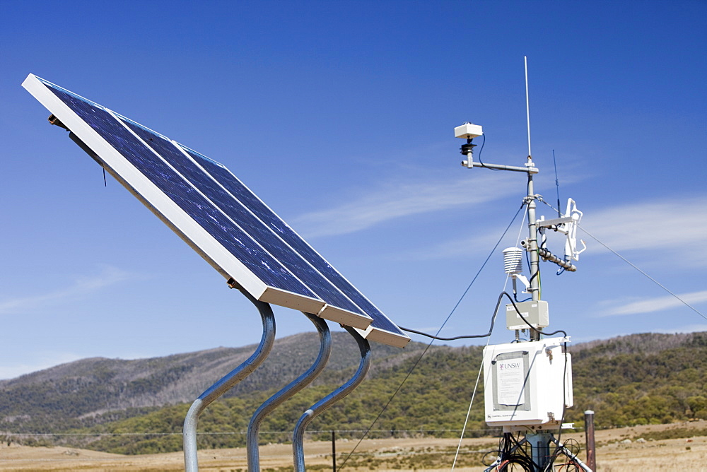 Solar panels used to generate electricity to power scientific equipment as part of a research project by scientists from Sydney University, in the Snowy Mountains, New South Wales, Australia, Pacific