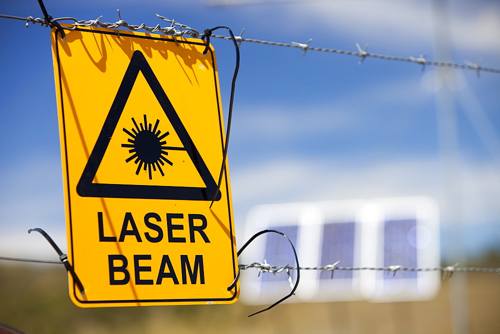 A warning sign about laser beams as part of a scientific study, Snowy mountains, New South Wales, Australia, Pacific