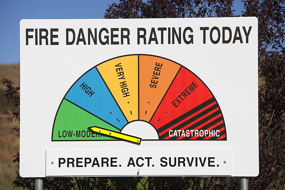 A fire danger rating sign at Michelago, New South Wales, Australia, Pacific