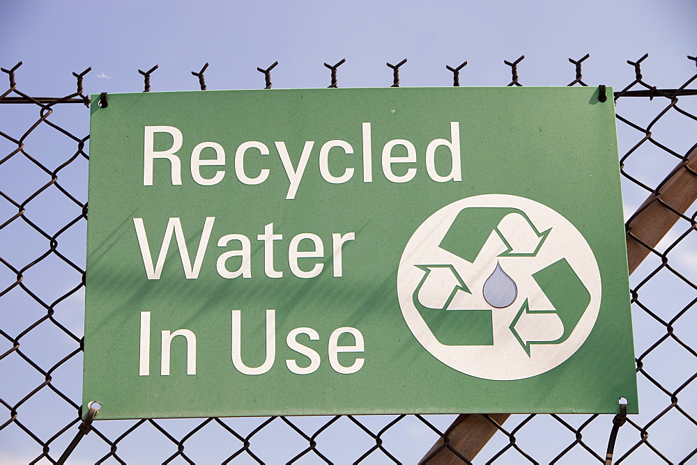 Sign saying recycled water in use at the Bluescope steel works in Port Kembla, Wollongong, New South Wale, Australia, Pacific - 911-5990