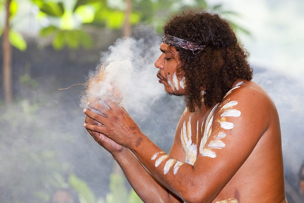 A traditional aboriginal display of fire making at the Tjapukai Aboriginal Park near Cairns, Queensland, Australia, Pacific