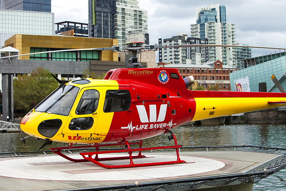 A helicopter on a platform on the Yarra River in Melbourne, Victoria, Australia, Pacific