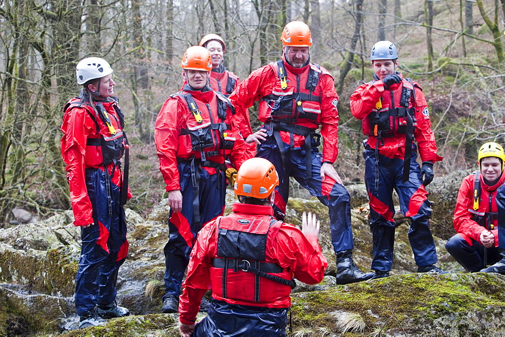Members of the Langdale Ambleside Mountain Rescue Team train in Swift water rescue techniques on the River Brathay at Skelwyth, Lake District, Cumbria, England, United Kingdom, Europe - 911-6162