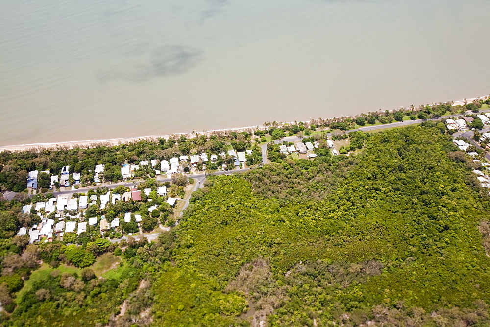 Housing on the outskirts of Cairns that is vulnerable to sea level rise, Queensland, Australia, Pacific