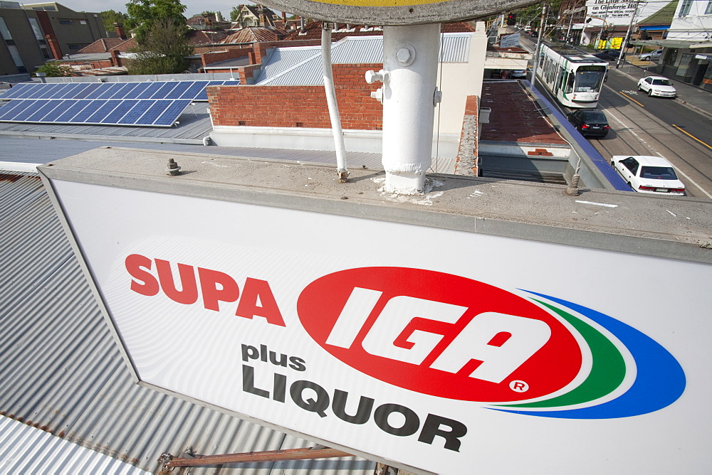 Solar panels on the roof of the Super AIG Supermarket, on Glenferries road in Hawthorn, Melbourne, Victoria, Australia, Pacific