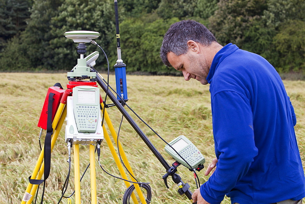 A differential GPS being used in real time kinematic survey, to survey the extent of the Durham canyon flooding feature, County Durham, England, United Kingdom, Europe - 911-6358
