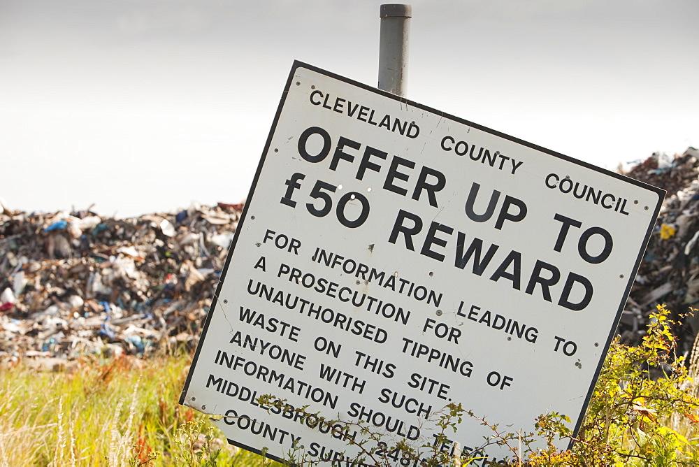 Rubbish dumped on wasteland on the outskirts of Hartlepool, Cleveland, England, United Kingdom, Europe