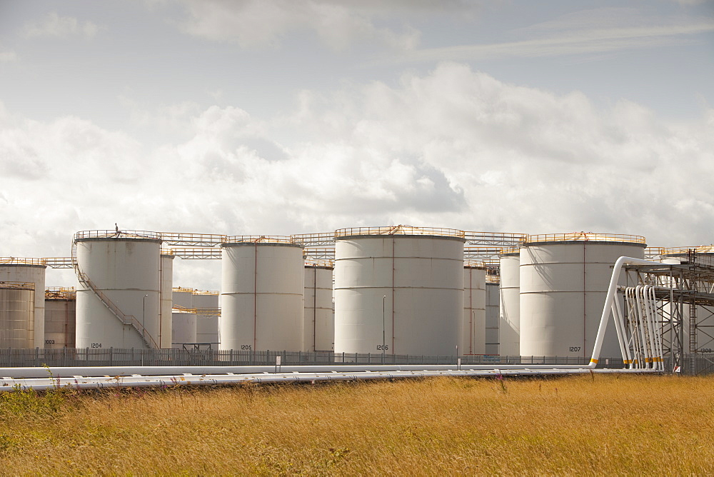 Oil storage depot on Teesside, England, United Kingdom, Europe