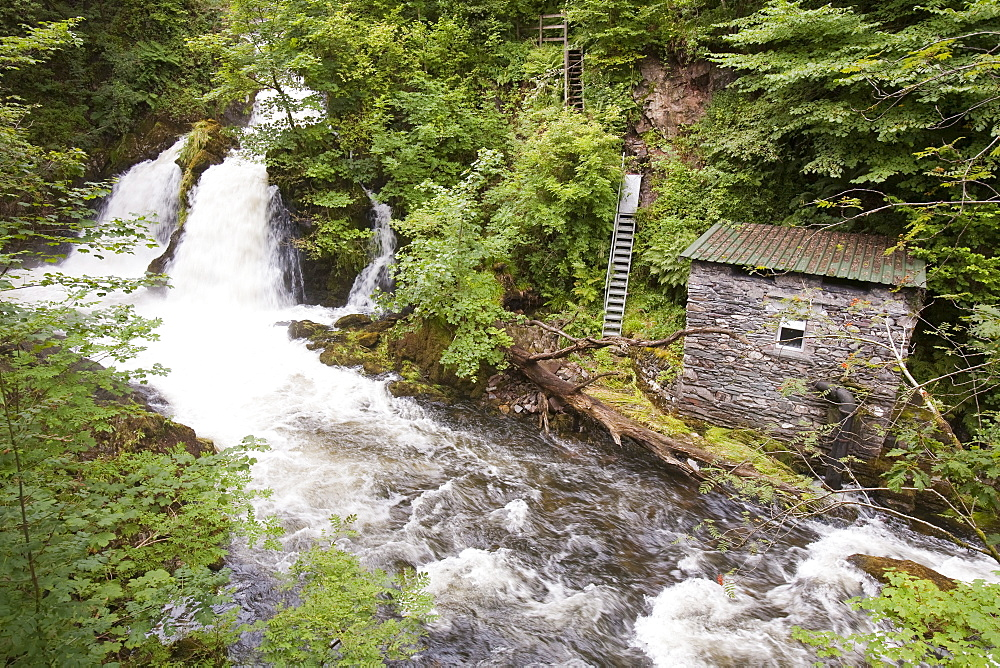 A small scale hydro plant next to Colwith Force in the Lake District, Cumbria, England, United Kingdom, Europe