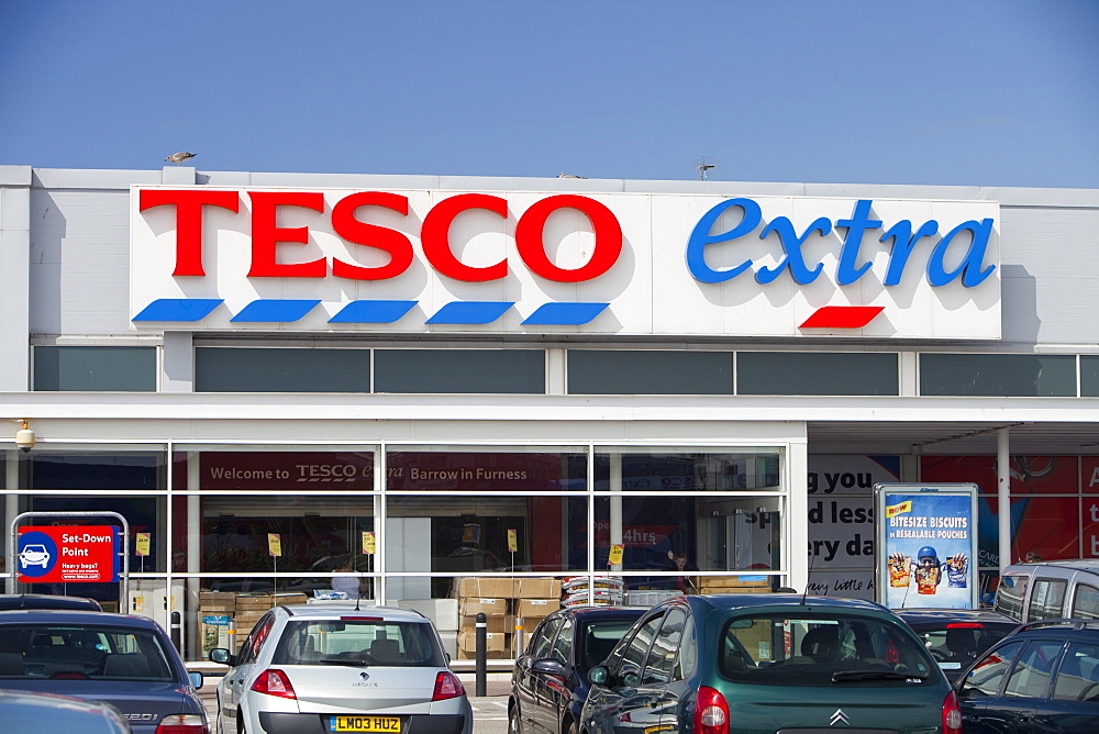 A Tesco Extra supermarket in Barrow in Furness, Cumbria, England, United Kingdom, Europe