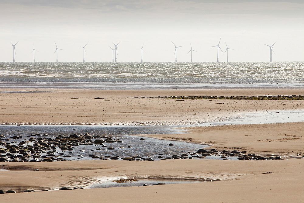 Barrow offshore wind farm, a 30 turbine, 90 MW offshore wind farm completed in 2006, situated about 7 km south west in the Irish Sea off Walney Island, Barrow in Furness, Cumbria, England, United Kingdom, Europe