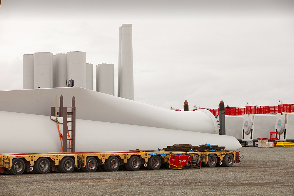 The Walney Offshore Windfarm project is located 15km off Barrow in Furness in Cumbria, England, United Kingdom, Europe