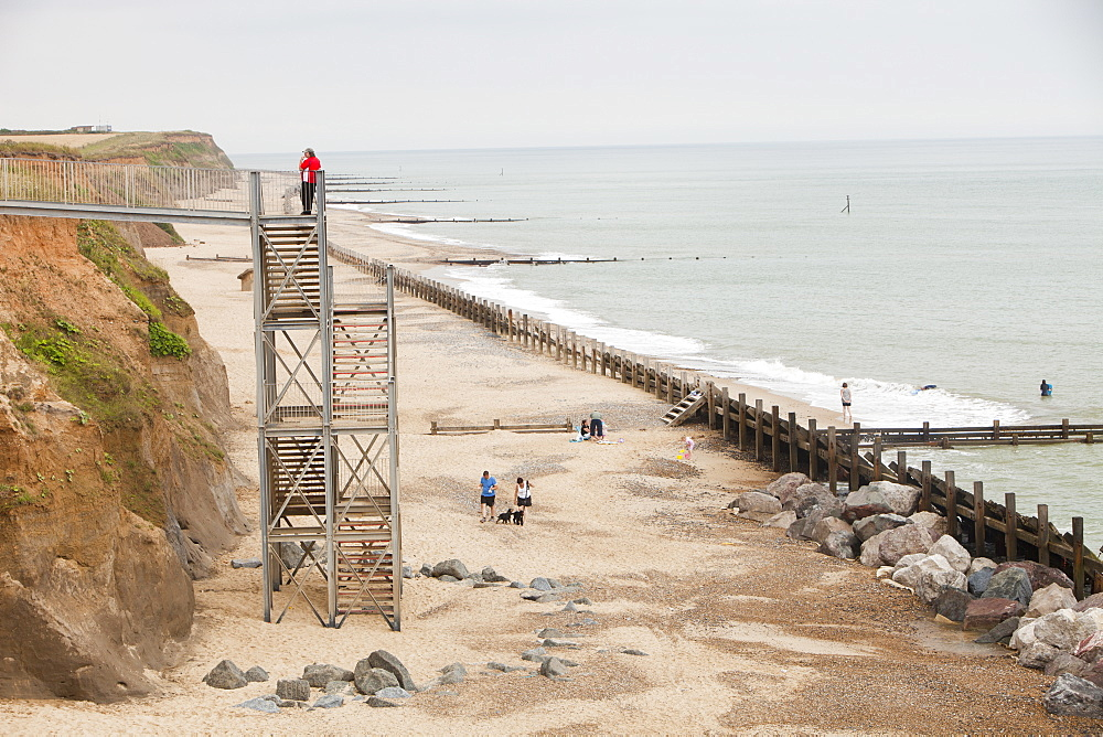 Steps that are the only way to access the beach following recent erosion, Happisburgh, North Norfolk, England, United Kingdom, Europe