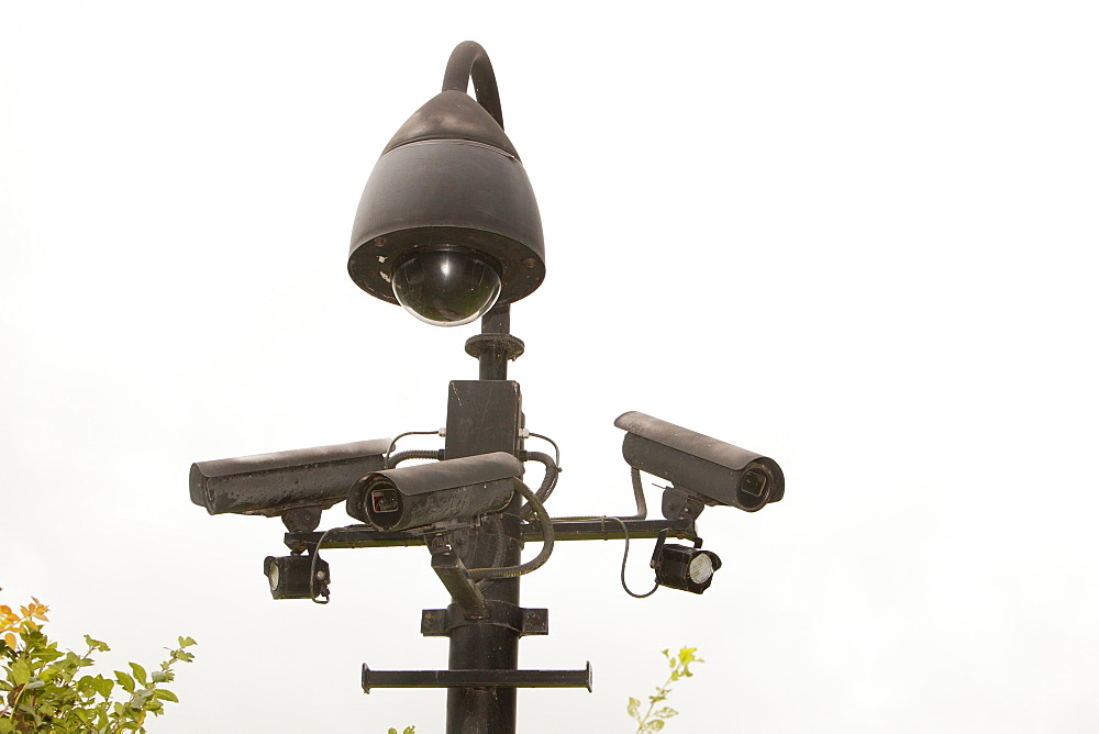 CCTV security cameras outside an expensive house in the Ribble Valley, Lancashire, England, United Kingdom, Europe