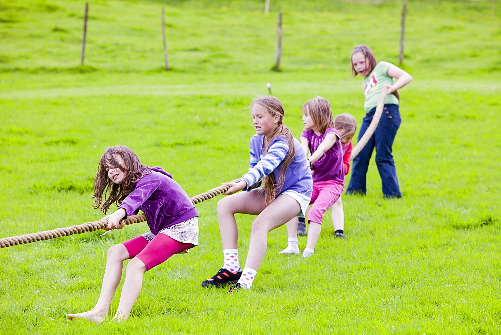 The childrens tug of war at the Rusland Vale Horticultural society annual show, Rusland, South Cumbria, England, United Kingdom, Europe