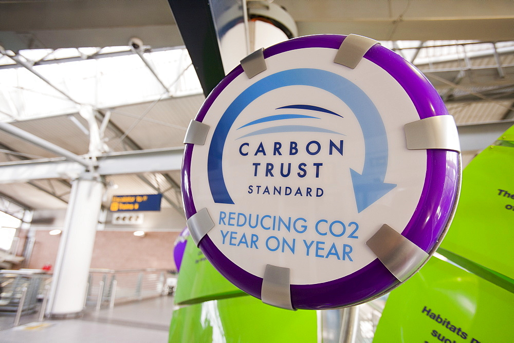 A Carbon Trust standard display at Manchester airport, outlining how they are reducing their carbon footprint, England, United Kingdom, Europe