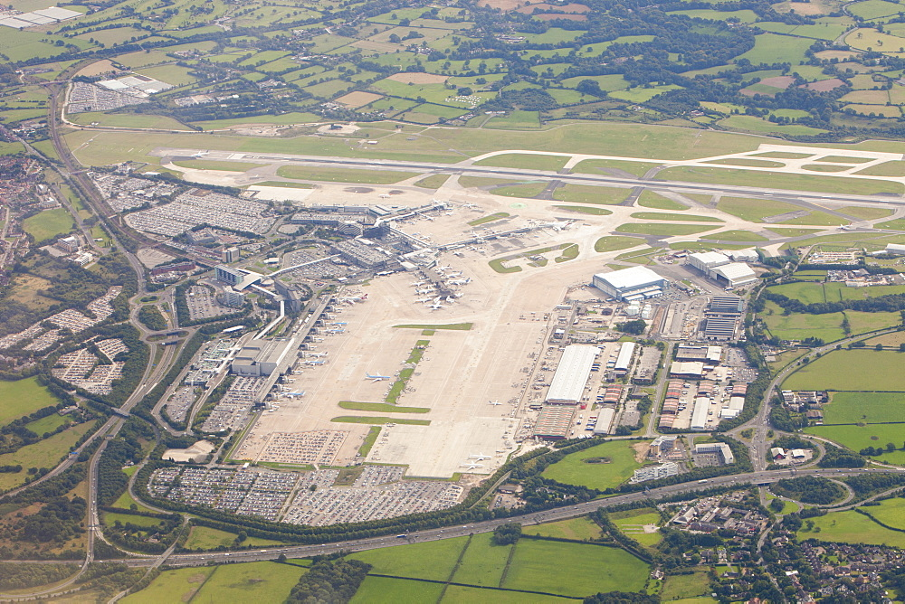 Manchester Airport from the air, Manchester, England, United Kingdom, Europe