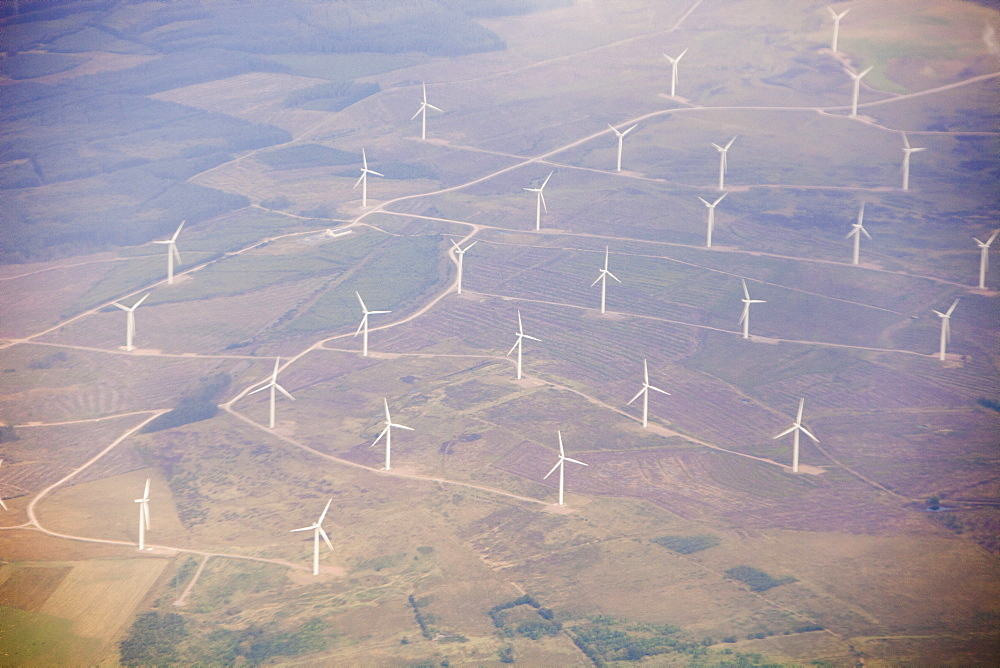 A wind farm in the Southern Uplands of Scotland seen from the air, United Kingdom, Europe - 911-6796