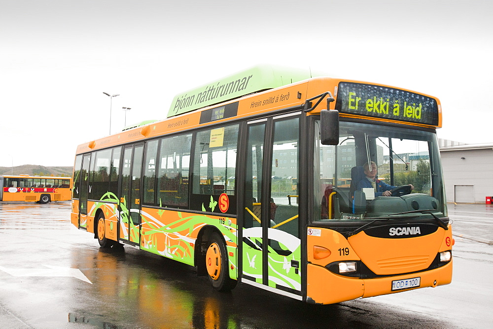 A bus that is powered by methane, Reykjavik, Iceland, Polar Regions - 911-6808