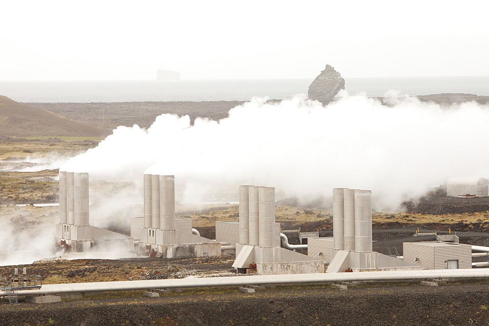 Capturing geothermal steam from boreholes to power the Reykjanes geothermal power station near Reykjavik in Iceland, Polar Regions - 911-6814