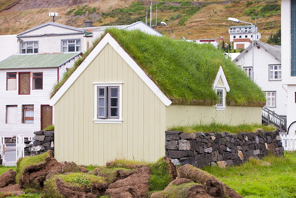 A green roofed house in Siglufjordur, Icelands most northerly town, Iceland, Polar Regions
