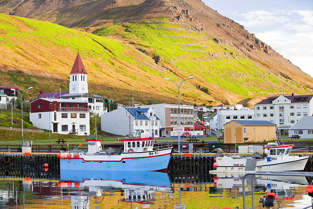 Avalanche protection defences above Iceland's most northerly town, Siglufjordur, Iceland, Polar Regions