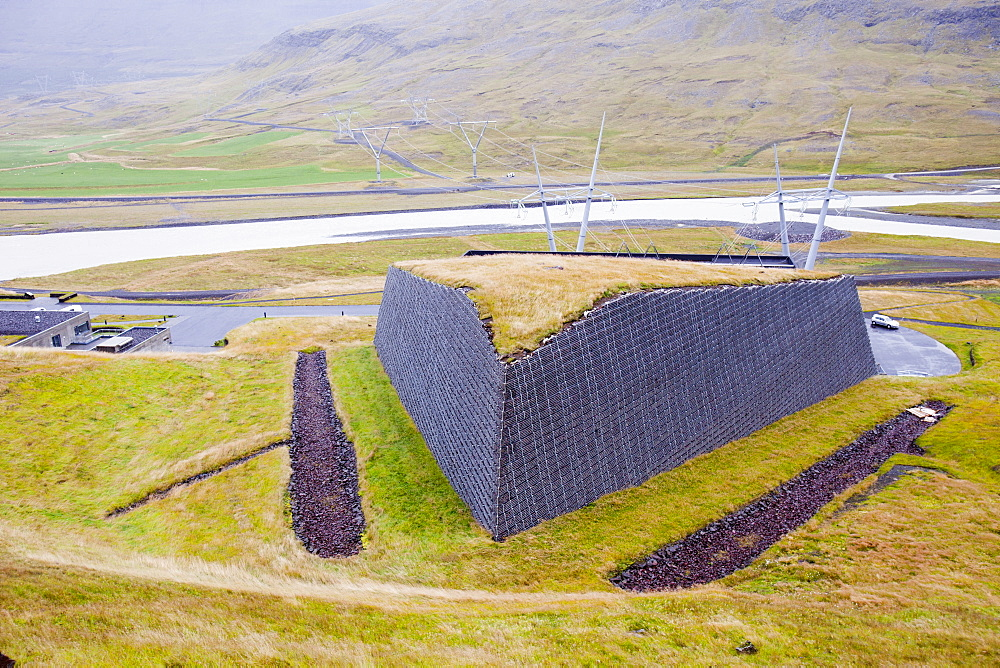 Avalanche protection for the high voltage power cables as they exit the underground Fljotsdalur hydro power station part of Karahnjukar a massive new controversial hydro electricity project in North East Iceland, Polar Regions