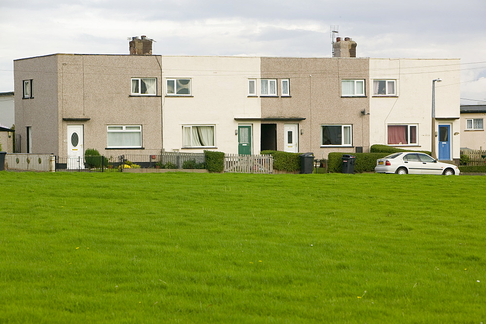 Flat roofed council houses near Workington, Cumbria, England, United Kingdom, Europe